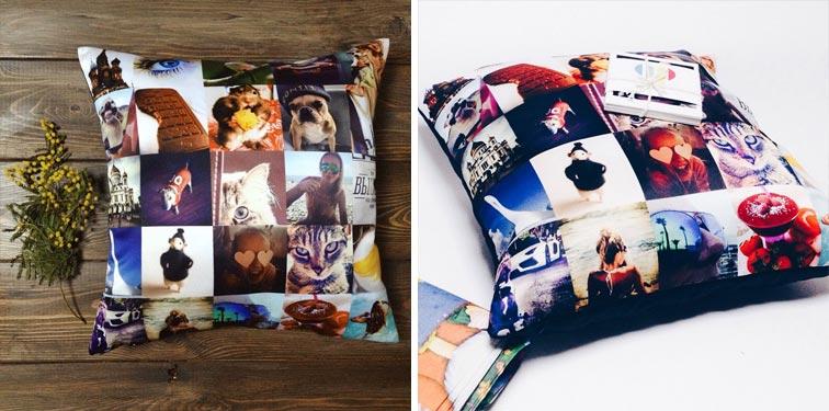 Подушка созданная на коллаже фотографий из инстаграма
